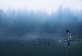 Child Feeding Ducks In Misty Morning - Obrázkek zdarma pro 1366x768