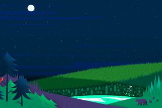 Graphics night and bears in forest Picture for Android, iPhone and iPad