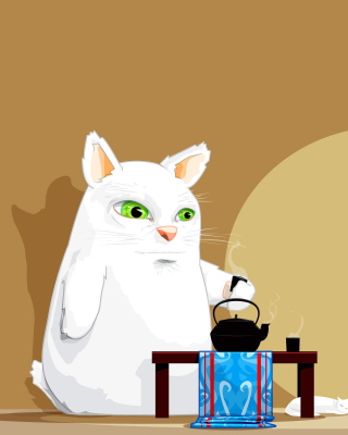 Japanese Cat Breakfast Background for Nokia Asha 306