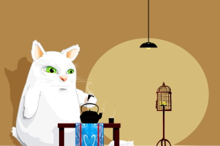 Japanese Cat Breakfast Wallpaper for Android, iPhone and iPad