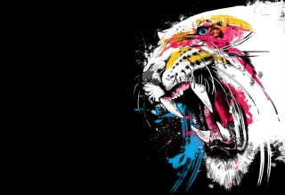 Tiger Colorfull Paints papel de parede para celular para Desktop Netbook 1024x600
