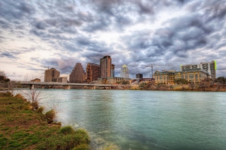 USA Sky Rivers Bridges Austin TX Texas Clouds HDR Background for Android, iPhone and iPad