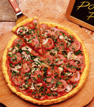 Pizza With Tomatoes And Mushrooms - Obrázkek zdarma pro 480x640