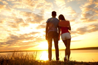 Free Sunrise Couple Picture for Android, iPhone and iPad