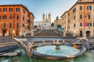 Spanish Steps in Rome and Fontana della Barcaccia Background for Android, iPhone and iPad