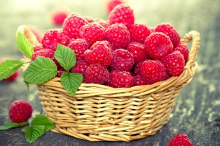 Basket with raspberries Background for Android, iPhone and iPad