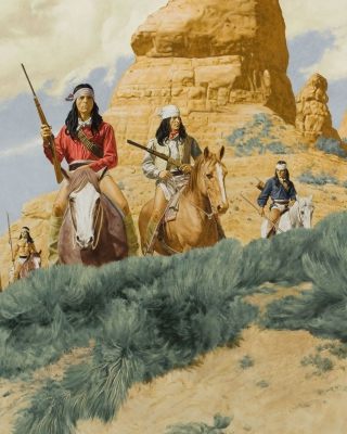 Free Native American Indians Riders Picture for Nokia Asha 311
