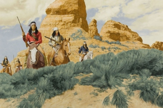 Native American Indians Riders Background for Android, iPhone and iPad