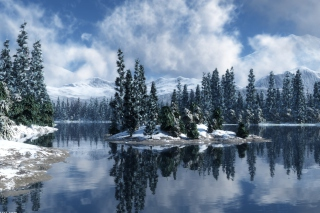 Blue Winter Landscape Background for Android, iPhone and iPad