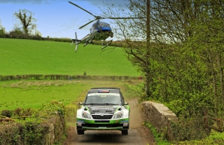 Skoda Fabia & Helicopter Background for Android, iPhone and iPad