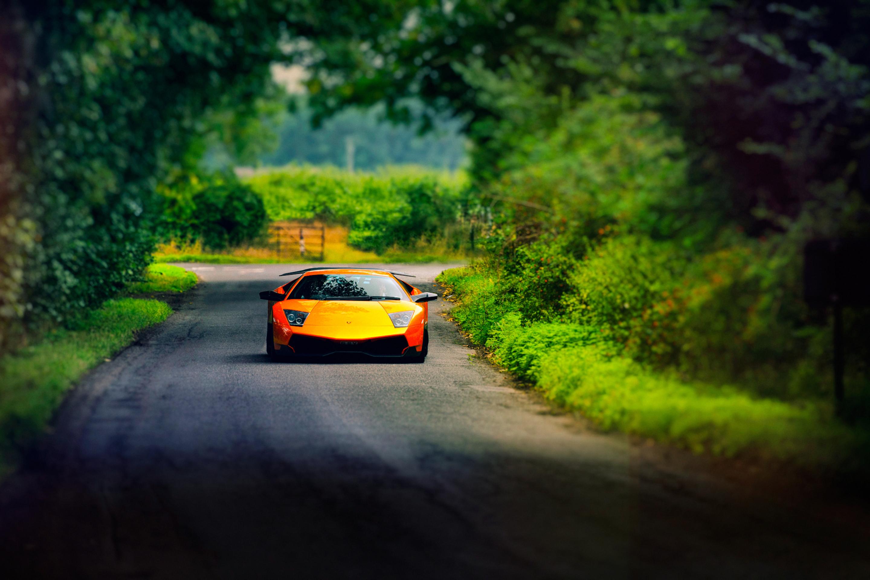 природа оранжевый автомобиль трава ангар деревья скачать