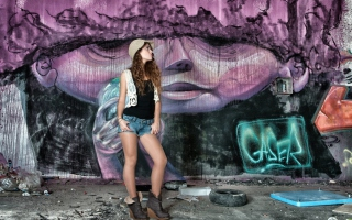 Girl In Front Of Graffiti Wall Wallpaper for Android, iPhone and iPad