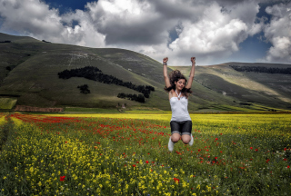 Happy Girl Jumping Background for Android, iPhone and iPad