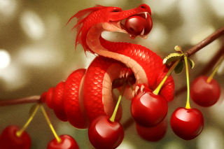 Dragon with Cherry Wallpaper for Android, iPhone and iPad