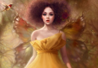 Fairy In Yellow Dress Picture for Android, iPhone and iPad