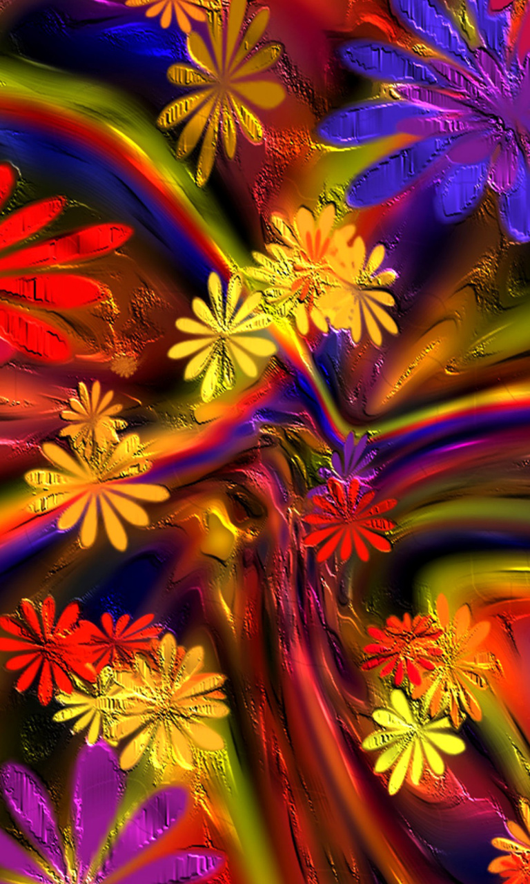 Sfondi Colorful paint flowers 768x1280