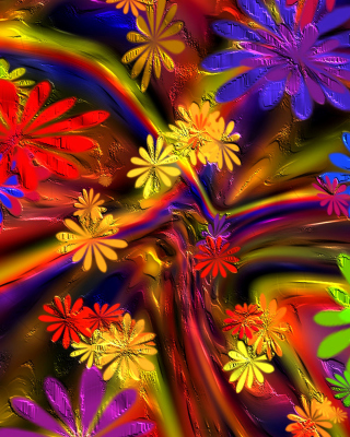 Colorful paint flowers Wallpaper for HTC Titan