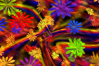 Colorful paint flowers Picture for Android, iPhone and iPad