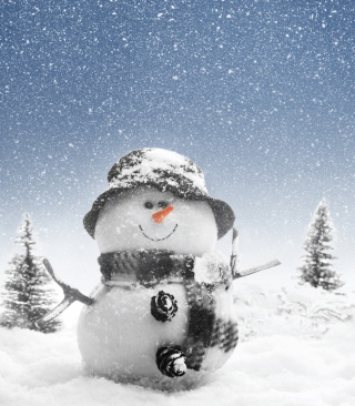 New Year Snowman Wallpaper for Nokia 5233