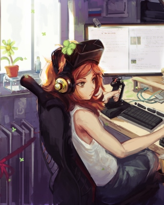 Anime Girl Gamer Picture for Nokia Asha 306