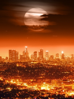 Screenshot №1 pro téma Full Moon Above Los Angeles 240x320