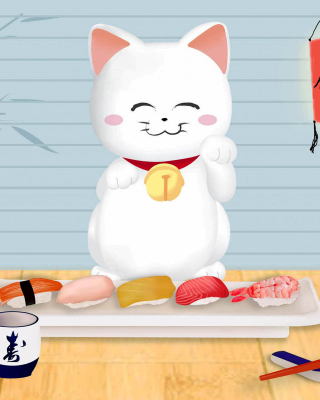 Maneki Neko Cat HD Background for Nokia Asha 310