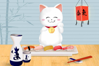 Maneki Neko Cat HD Wallpaper for 480x400