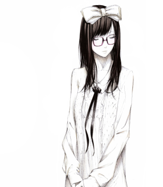Sketch Of Girl Wearing Glasses And Bow - Obrázkek zdarma pro 640x960