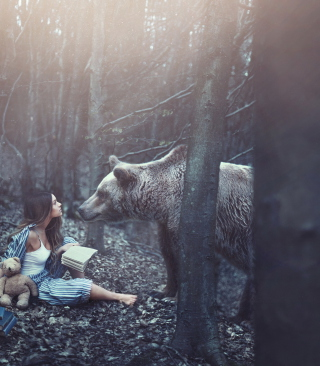 Girl And Two Bears In Forest By Rosie Hardy Photographer - Obrázkek zdarma pro Nokia C1-02