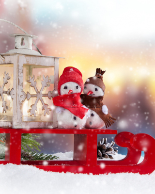 Snowman Christmas Figurines Decoration sfondi gratuiti per iPhone 6
