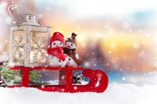 Snowman Christmas Figurines Decoration sfondi gratuiti per cellulari Android, iPhone, iPad e desktop