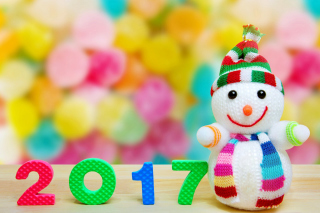 2017 New Year Snowman Wallpaper for Android, iPhone and iPad
