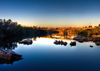 River With Bridge - Fondos de pantalla gratis para Samsung I9080 Galaxy Grand
