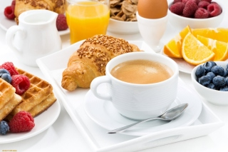 Croissant, waffles and coffee Picture for Android, iPhone and iPad