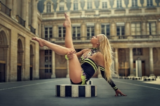 Gymnast Girl in Paris Background for Android, iPhone and iPad