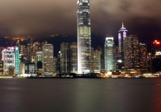 Hong Kong At Night Picture for Android, iPhone and iPad