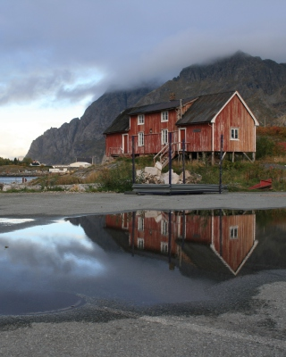 Norway City Lofoten with Puddles Background for iPhone 6 Plus