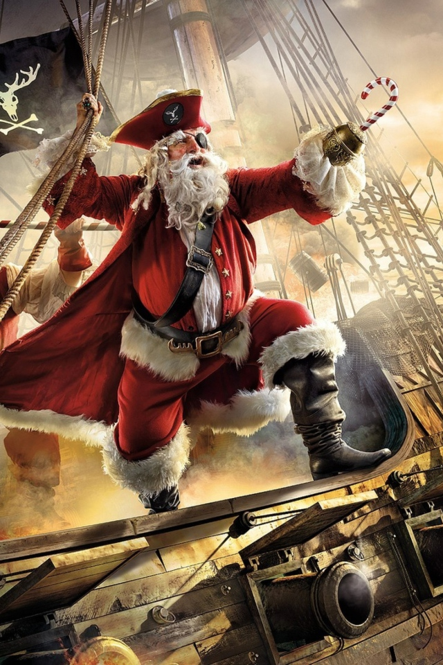 Pirate Santa wallpaper 640x960