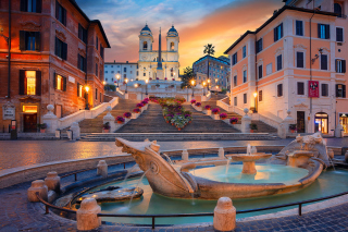 Fontana della Barcaccia and Spanish Steps Picture for Android, iPhone and iPad