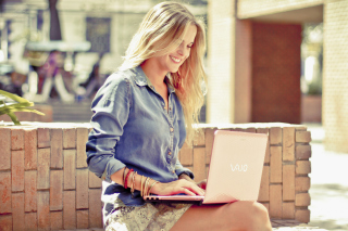 Girl With Laptop Wallpaper for Android, iPhone and iPad
