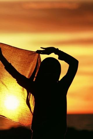 Girl Silhouette At Sunset para Huawei G7300