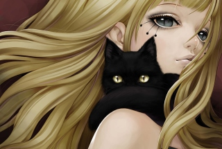 Blonde With Black Cat Drawing Picture for Android, iPhone and iPad