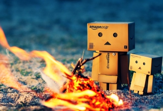 Danbo Warming Fire Wallpaper for Android, iPhone and iPad
