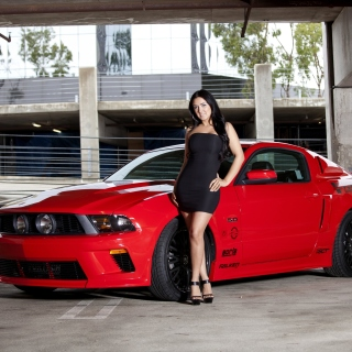 Ford Mustang GT Vortech with Brunette Girl - Fondos de pantalla gratis para iPad Air