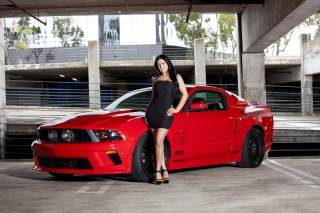 Ford Mustang GT Vortech with Brunette Girl Background for Android, iPhone and iPad
