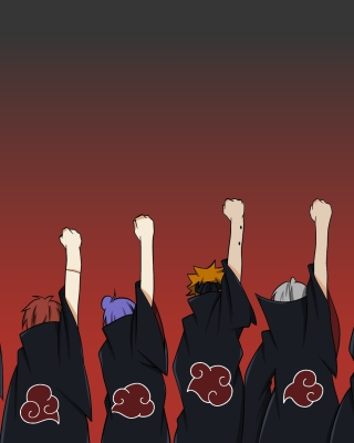 Naruto, Itachi, Sasori, Tobi, Deidara with Sharingan Logo Background for 480x640