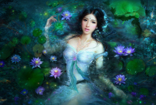 Princess Of Water Lilies Background for Android, iPhone and iPad