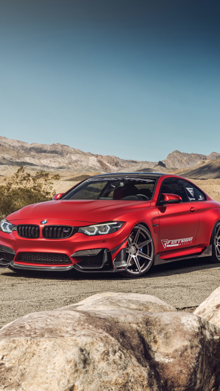 Das BMW M4 Red Wallpaper 750x1334