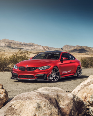 BMW M4 Red Background for 640x1136