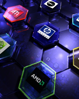 Hi-Tech Logos: AMD, HP, Ati, Nvidia, Asus Wallpaper for Nokia C1-01